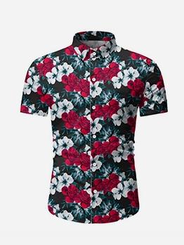 Summer Short Sleeve Floral Shirts For Men