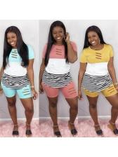 Color Patchwork Stripes Casual Wear 2 Piece Set
