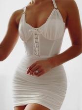 White Lace-Up Back Zipper Sexy Halter Dress