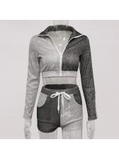 Front Zipper Glitter Long Sleeve Crop Top And Shorts Set