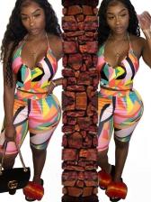 Color Block Halter Neck Crop Top And Half Pants Set