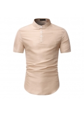 Stand Collar Short Sleeve T Shirts For Men