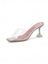 Square Toe Clear Heels Ladies Slippers