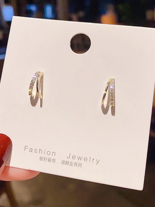 Letter C Semicircle Shape Rhinestone Stud Earrings