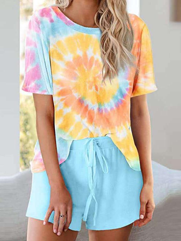 Short Sleeve Loose Tie Dye Two Piece Set