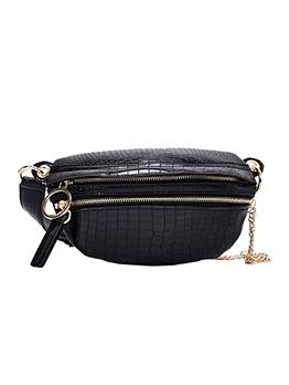 Double Zipper Crocodile Print Solid Women Bum Bag