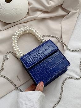 Square Crocodile Print Faux Pearl Handle Chain Shoulder Bag