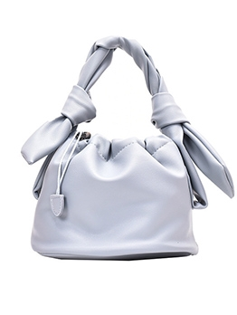 Knot Handle Solid Color Drawstring Bucket Handbag