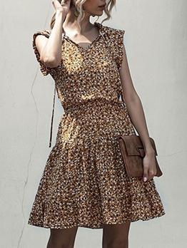 V Neck Sleeveless Floral Dress Stringy Selvedge