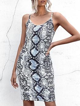 Animal Print Fitted Sleeveless Short Dress