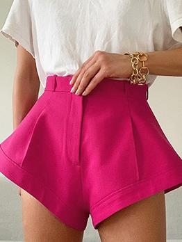 Bright Color Loose Leg High Waist Hot Shorts