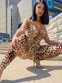 U Neck Sleeveless Leopard Print Jumpsuit