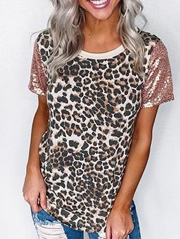 Sequins Patchwork Leopard Ladies t Shirts