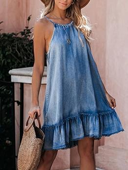 Casual Solid Ruffled Denim Sleeveless Dress