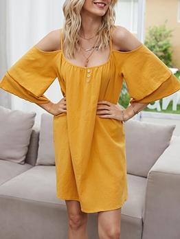 Pure Color Shoulder Cut Flare Short Sleeve Dress