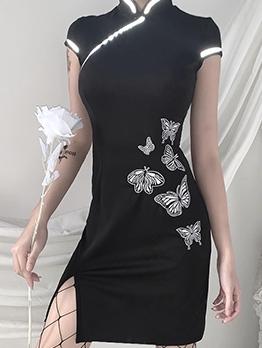 Cheongsam Design Reflective Butterfly Black Short Dress