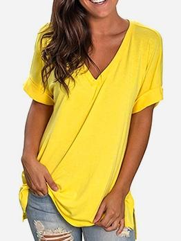 Plus Size Loose Solid Color Short Sleeve V Neck T-Shirt