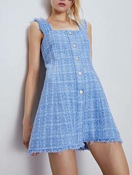 Square Collar Blue Plaid Sleeveless A-line Dress