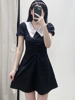 Doll Collar Puff Sleeve Black A-Line Dress