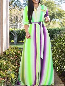 Multicolored Striped Button Up Plus Size Maxi Dresses