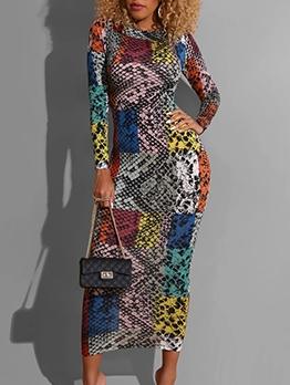 Color Block Mid Calf Length Long Sleeve Midi Dress