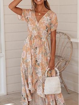 V Neck Printed Short Sleeve Summer Maxi Dresses