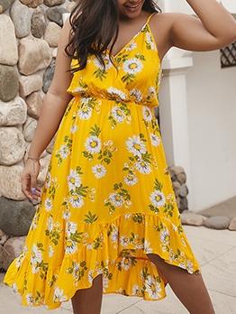 Plus Size Flower Printed Slip Summer Dresses