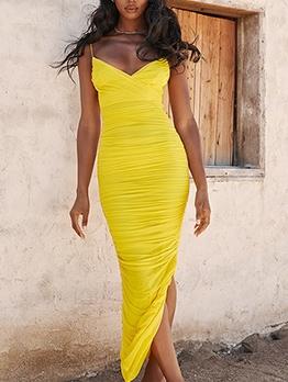 V Neck Ruched Sleeveless Maxi Dress