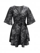 V Neck Half Sleeve Floral Wrap Dress