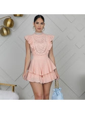 Mock Neck Ruffle Detail Fitted Womens Romper