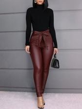 Bow Decor High Waist Black Pu Long Pants