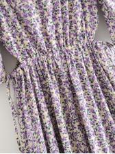 Cut Out High Waist Floral Purple Midi Dress