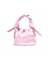 Knot Handle Solid Color Drawstring Bucket Handbag
