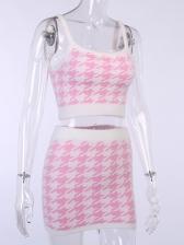 Pink Houndstooth Soft Summer Crop Top And Skirt Set