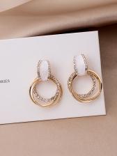 Multiple Circle Rhinestone Patchwork Earrings Design