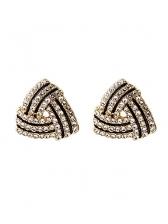 Triangle Full Rhinestone Shiny Stud Earrings