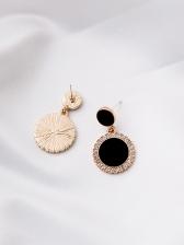 Geometric Round Color Patchwork Rhinestone Earrings