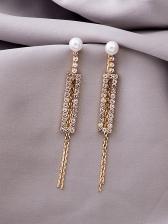 Rectangle Glitter Rhinestone Tassel Long Earrings
