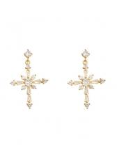 Rhinestone Cross Shape Short Earrings For Women