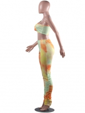 Inclined Shoulder Tie Dye Stacked Two Piece Pants Set
