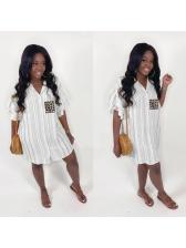 Leopard Pocket Ruffled Sleeve Striped Shirt Dress