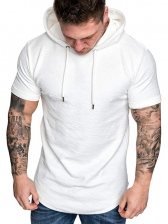 Casual Solid Mens Hooded T Shirt