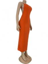 Summer Backless Solid Sim Maxi Dresses