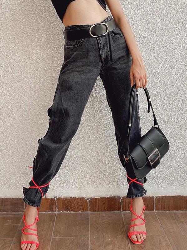 Side Button Up Split Design Black Long Pants