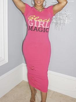 Hot Drilling Letter Hole Design Short Sleeve Midi Dress