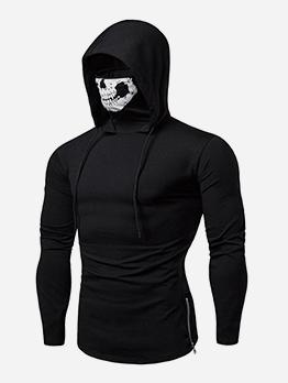 Skull Print Long Sleeve Ninja Black Hoodie