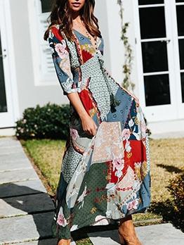 Bohemian v Neck Printed Maxi Dress