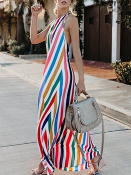 Fashion Colorful Striped Halter Maxi Dress