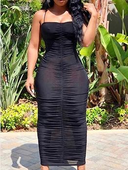 Sexy Ruched Spaghetti Strap Black Midi Dress