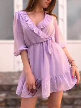 Stylish Dots Ruffled Wrap Ladies Dress
